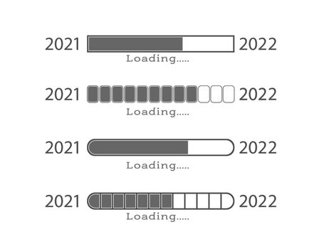 The new year is 2022. Download 2022. The loading bar. A collection of vector illustrations for design. Flat style.