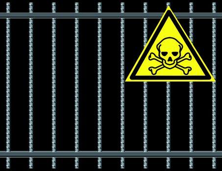 Steel reinforcing rods of the gril, toxic substancesl. Vector illustration.