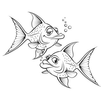 Two drawing cartoon fish. Illustration for design on white background