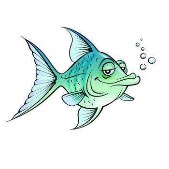 Green cartoon fish.  Illustration for design on white background