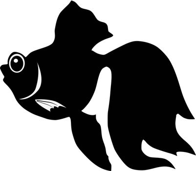 silhouette of the goldfish on white background