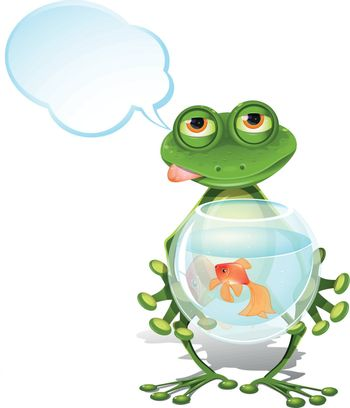 illustration merry green frog and a goldfish