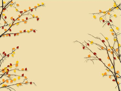 Background illustration with autumn rees and shadow