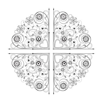 ornament with flowers on a white background. Element for design