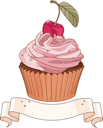 Beautiful cupcake with cherry on the top