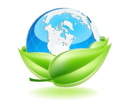 This image is a vector file representing a 3d Earth Globe in a leaf nest,  all the elements can be scaled to any size without loss of resolution.