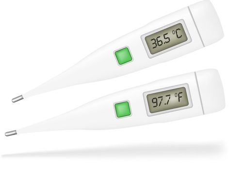 Illustration of Thermometers Isolated on White Background