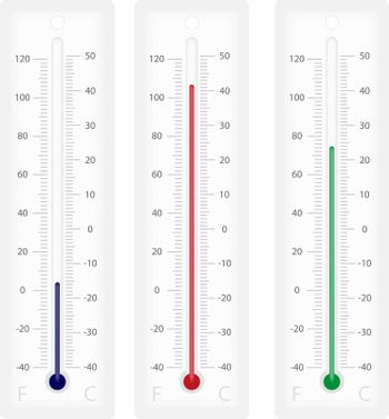 Illustration of thermometers with Celsius and Fahrenheit scales - isolated on white