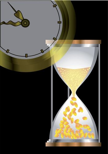 time concepts with hourglass, coins  and clock