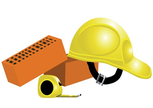 building concept. tape-measure, helmet, bricks isolated on white