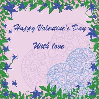 vector blue heart in frame with blue flowers
