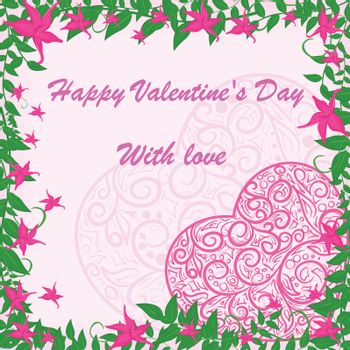 vector pink heart in frame with pink flowers