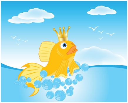 Illustration of the fairy-tale goldfish in ocean