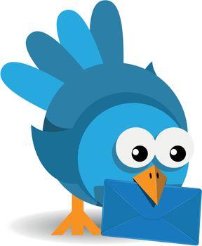 illustration blue bird with a blue envelope