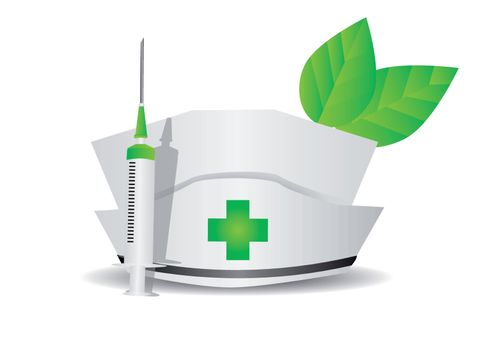 environmental medicine. medical cap, syringe, leaves isolated on white