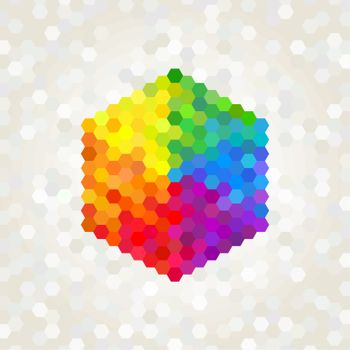 geometric figure, the background color of the rainbow