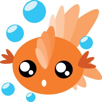 Cartoon goldfish and water drops in cute concept illustration