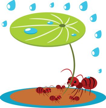 Red ants peotect family love power concept illustration