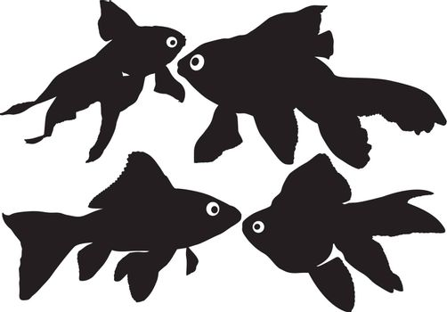 Goldfish vector silhouettes on white background. Layered. Fully editable