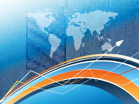 abstract vector statistic backdrop with world map. Eps10