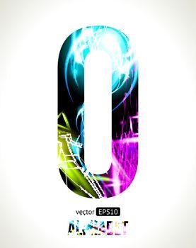 Vector design light effect alphabet. Easy customizable.  Letter  O.