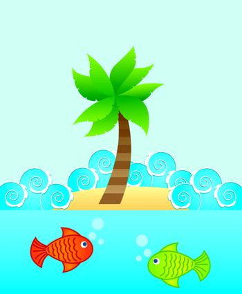 marine life with  fishes over blue background. vector illustration