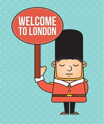 london guard  with welcome announcement. vector illustration