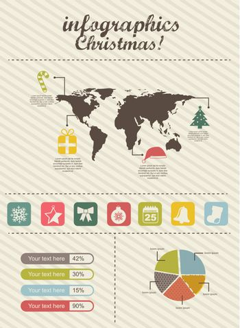 infographics christmas, vintage style. vector illustration