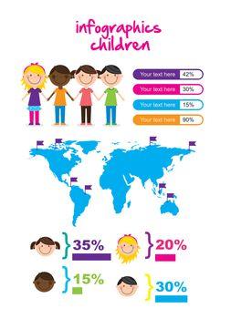 infographics of children, vintage style. vector illustration