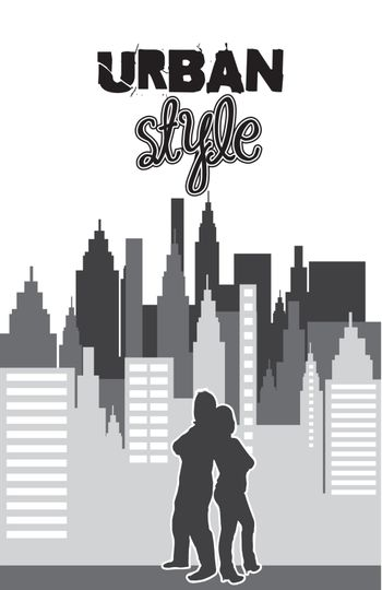 buildings with couple, urban style. vector illustration