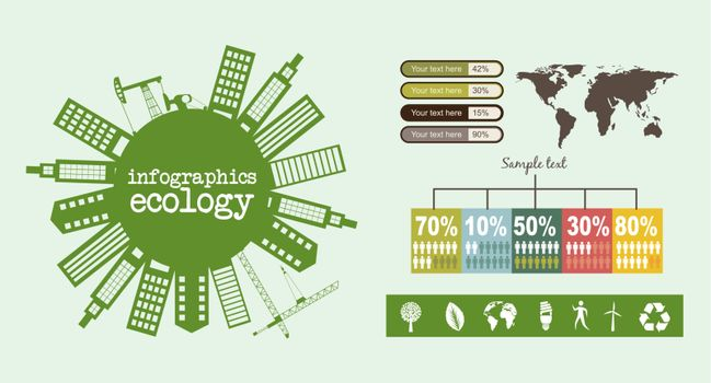 infographics ecology with buildings, vintage style. vector illustration