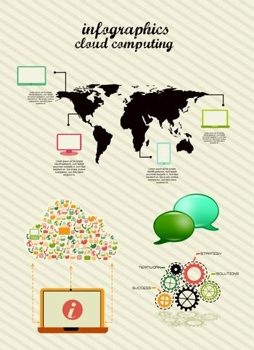 infographics cloud computing, vintage style. vector illustration
