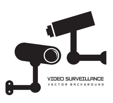 silhouette video surveillance isolated over white background. vector illustration