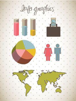 cute bar and symbols, infographics. vector illustration