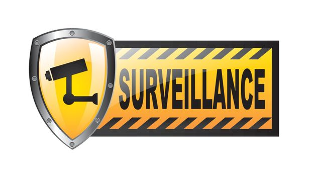 surveillance with protection shield isolated over white background. vector
