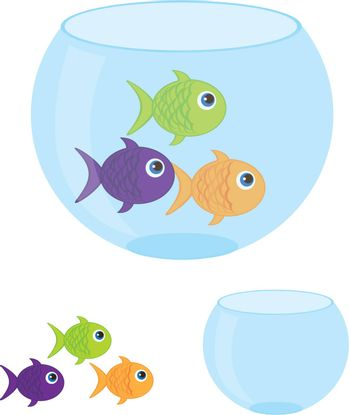 small aquarium with fish cartoon isolated over white background. vector