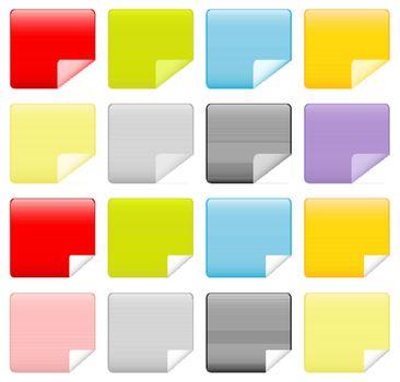 Modern Matte Web Icons with Bent Corner Set