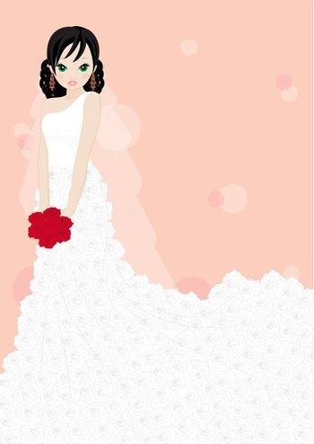 girl in a white dress isolated on pink background