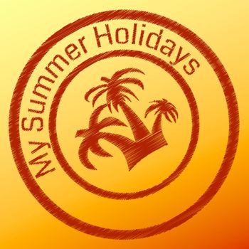 Summer stamp with palm tree in the circle
