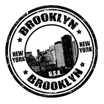 Black grunge rubber stamp with the name of Brooklyn written inside, vector illustration