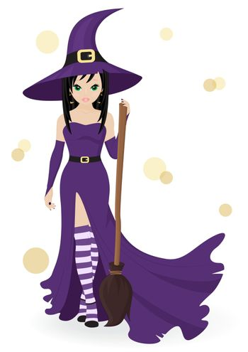 witch with a broom isolated on white background
