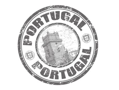Abstract grunge rubber stamp with tower of belem and the name Portugal written inside the stamp