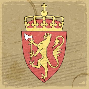 Coat of arms of  Norway on the old postage stamp