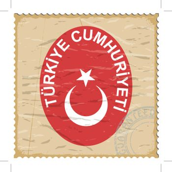Coat of arms of  Turkey on the old postage stamp