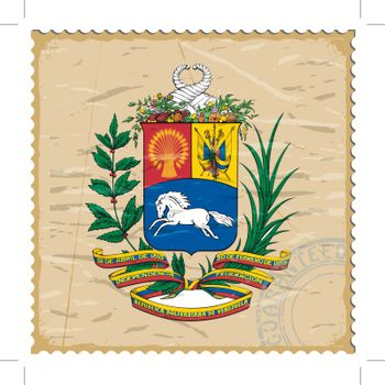 Coat of arms of  Venezuela on the old postage stamp