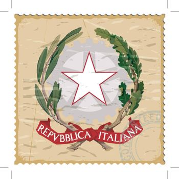 Coat of arms of  Italy on the old postage stamp