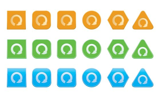 set of repeat icons of different shape