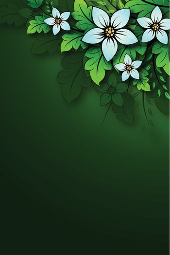 Natural floral background with leaves and flowers