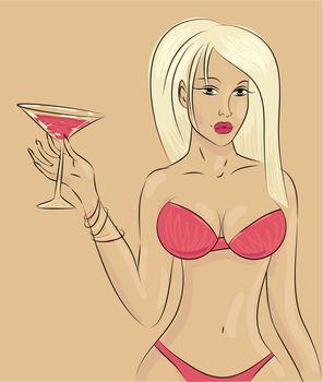 beautiful women wearing bikini with coctail, vector illustration