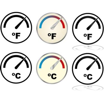 Illustration set showing icons for temperature displays in Fahrenheit and Celsius